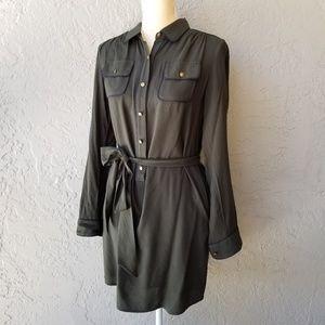 Banana Republic Army Green Half Button Shirt Dress